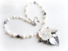 Freshwater pearl beaded necklace flower and by MalinaCapricciosa