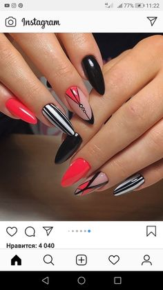 nails red and black acrylic Gelish Nails, Matte Nails, Nail Manicure, Glitter Nails, Black Ombre Nails, Black Acrylic Nails, Black Glitter, Love Nails, My Nails