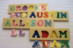 Hand Crafted personalized wooden name puzzles. $18.85, via Etsy. (with knobs, $8 shipping) Educational Games For Kids, Fun Games For Kids, Indoor Activities For Kids, Diy For Kids, Gifts For Kids, Jigsaw Puzzles For Kids, Wooden Puzzles, Unique Birthday Gifts, Birthday Gifts For Girls