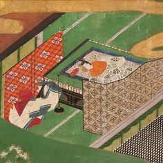 "ROOM FOR REST | Scene from ""The Ivy"" chapter 49 of the table of Genji, studio of Tawaraya Sōtatsu, 1640."