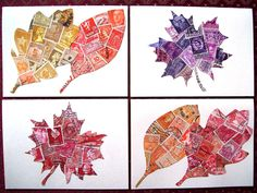 postage stamp collage leaves