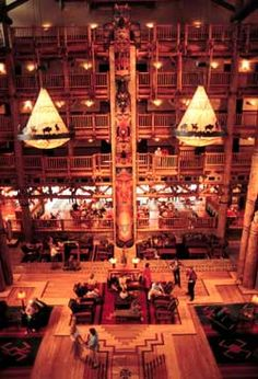 Inside the lobby of Wilderness Lodge, Disney World, FL