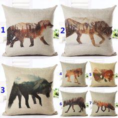 Décoratif oreillers de jet case mignon cartoon belle réel sauvage chien renard…