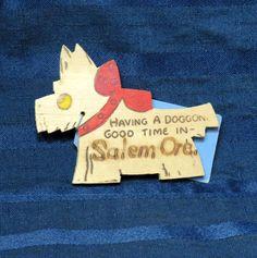 Vintage Wooden Scotty Dog / Scottish Terrier Pyrography/ Salem Oregon Souvenir on Etsy #scottydog