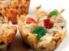 Coconut and sweetened condensed milk make these nuggets chewy. Icebox Fruit Cake Recipe, Fruit Cake Cookies Recipe, Fruit Cakes, Holiday Cookie Recipes, Holiday Cookies, Christmas Recipes, Holiday Baking, Christmas Candy, Christmas Treats