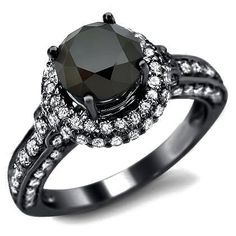 Round Solitaire Black Diamond  Ring. Want.