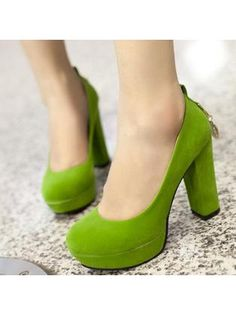Metal Pendant Ankle Strap Green Platform Pumps