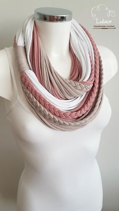 Unique scarfscarves for women loop scarf cotton fabric Rope Jewelry, Scarf Jewelry, Textile Jewelry, Fabric Jewelry, Jewellery, Yarn Necklace, Fabric Necklace, Necklaces, Pink Scarves