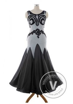 Luxury Black Standard Ballroom Tango Waltz Smooth Competition Dance Dress