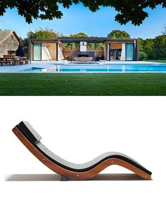 We love this modern pool pad, and think our Sunlounger would make a nice addition -