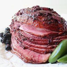 Blackberry Jalapeno Glazed Ham Orange Glazed Ham, Honey Glazed Ham, Spiral Cut Ham, Spiral Sliced Ham, Christmas Entrees, Holiday Meals, Christmas Recipes, Holiday Recipes, Ham Recipes