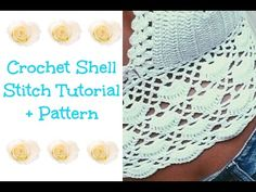Adventures of Krystal Everdeen: Crochet Shell Stitch Tutorial + Pattern Bikinis Crochet, Crochet Halter Tops, Crochet Crop Top, Cute Crochet, Crochet Hooks, Knit Crochet, Crochet Summer, Crochet Shell Pattern, Crochet Shell Stitch