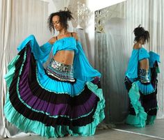 Belly dance Costume set TALIKA - turquoise black purple aqua Gypsy style belly dance costume - full skirt with beaded belly dance belt and matching Gypsy top.  I LOVE this skirt. As for the top, I love, too, but at this point, I'm not ready (just yet), to go full midriff like I used to. Working on that, for sure. :)