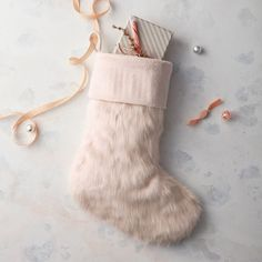 West Elm blush faux fur stocking