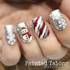 Frosty Snowman Christmas Nail Art Design.