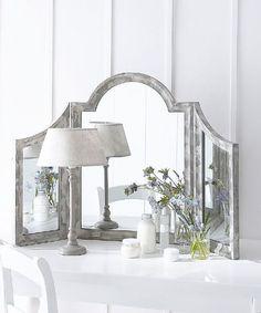 Distressed triptych mirror