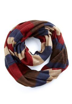 Modcloth Campground Classics Scarf  With its muted navy, taupe, and burgundy tones, loose, lightweight knit, and super-soft feel, this scarf will keep you looking chic as you stroll the great outdoors. Loop this accessory over a khaki jacket, cuffed jeans, and faux shearling-lined boots for a look fit for an adorable adventurer!