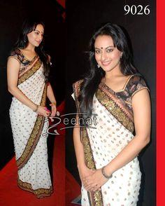#SonakshiSinha bollywood style white and black designer chiffon #saree shop from #craftshopsindia