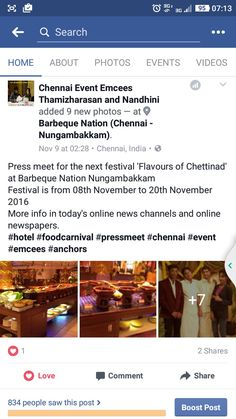 Press meet for the next festival 'Flavours of Chettinad' at Barbeque Nation Nungambakkam  Festival is from 08th November to 20th November 2016 More info in today's online news channels and online newspapers.  https://m.facebook.com/story.php?story_fbid=312675129125595&id=209560979437011 #hotel #foodcarnival #pressmeet #chennai #event #emcees #anchors