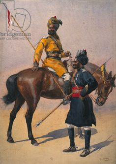 Soldiers of the 1st Duke of York's Own Lancers (Skinner's Horse) Hindustani Musalman and 3rd Skinner's Horse, Musalman Rajput, illustration ...