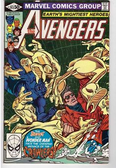 The Avengers #203 Jan 1981 Marvel Comic Book Beast Wonder Man Vs Crawlers