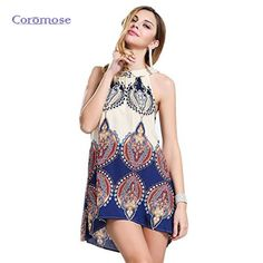 Coromose Summer 2017 Women's Dress Boho Dress Halter Neck Sleeveless A Line Dresses Mini Beach Dress Womens Sexy Female Clothing #Affiliate