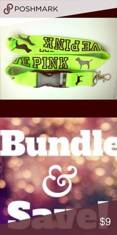 Victoria's Secret PINK lanyard keychain lime NEW BRAND NEW 😍Victoria's Secret PINK lanyard for your house keys , car  keychain lanyard or ID holder , hold your Disney pass or work badge 🔥DONT MISS OUT you will luv it-- I offer bundle item discounts and ship super fast 🏃🏼‍♀️**please don't send low offers this is already reasonably priced , plus keep in mind Poshmark deducts selling fees,  leaving sellers like me not much after sale 💰🙁 PINK Victoria's Secret Accessories Key & Card…