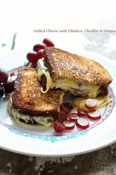Whole Wheat Grilled Cheese Sandwich with Grapes