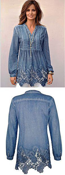 Джинсовая рубашка с декором / Рубашки / LOOKS INCREDIBLE IN BLUE DENIM, ALSO UNEXPECTEDLY  PRETTY, WITH THE LACY BOTTOM AND FRONT!! - GORGEOUS!!