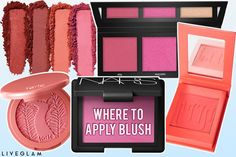 Where You Should Actually Apply Blush - LiveGlam Eyeshadow Brushes, Eyeshadow Palette, Pro Makeup Tips, Blush Application, Blue Eyes Pop, High Cheekbones, How To Apply Blush, Makeup Drawer, When You Smile