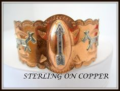 Native American Copper Cuff   Sterling Inlaid by VintagObsessions