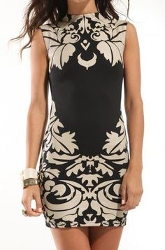 Damask Print Fitted Dress