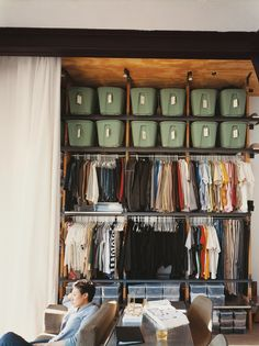 The wall of storage. I'll never have that many clothes (I hope) but some of that space could be utilized for more tubs!
