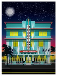 Miami Beach Hotel Series - The Fairmont $15 #vintage #travel #posters #illustration