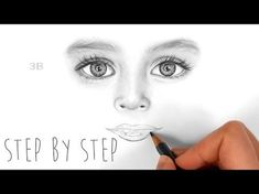 How to draw, shade realistic eyes, nose and lips with graphite pencils   Step by Step - YouTube