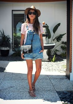 Sincerely Jules does Palm Springs in overalls and a red and white striped tee
