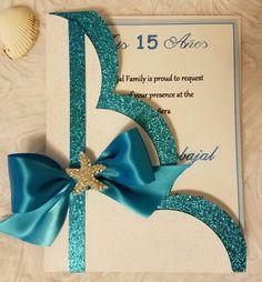 Under the sea Invitation. Quince Invitations, Wedding Invitations, Wedding Anniversary Cards, Wedding Cards, 15th Birthday, Birthday Cards, Diy And Crafts, Paper Crafts, Quinceanera Themes