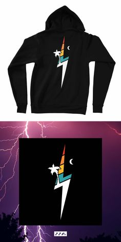 the TROPIC THUNDER lightning bolt beach hoodie sweatshirt is perrrrrrfect for days that turn to evenings on the beach. Thunder And Lightning, Lightning Bolt, Fleece Hoodie, Hoodies, Sweatshirts, Tropical, Unisex, Hats, Beach