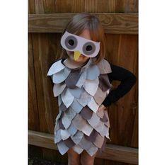 Owl costume by The Long Thread, for Alpha Mom. http://thelongthread.com/ http://alphamom.com/family-fun/holidays/last-minute-kids-owl-costum...