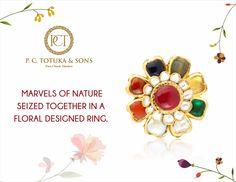 Marvels of nature seized together in a floral designed ring #PCTandSonsJaipur #jaipurjewellery #navratna #ring #floraldesign #picoftheday #jaipur #luxury #ethnic #traditional #rajasthan #bridal #bride #wedding #india
