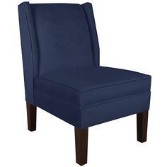Velvet Navy Wingback Chair #Skylinefurniture