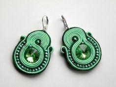 Green Eye  soutache earrings by Bajobongo on Etsy, $23.00