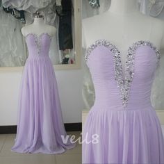 Lavender Prom Chiffon Dress Beading Sequins Bridesmaid dress Purple Wedding Party Gown Sexy V-neck Bridal Wedding Party Gown