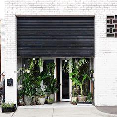 Glass door behind garage doors