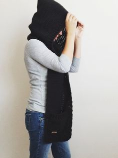 Hooded Scarf with Pockets by morganela on Etsy
