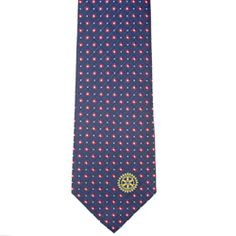 b8c69fd41cf4b Russell-Hampton Co. Rotary Club Supplies  Navy with Red and White Dots  Woven Silk Tie