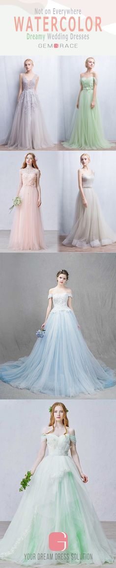 Unique water color wedding dresses for a fresh DREAMY style. Multiple colored wedding dresses are available, like mint, ross, green, ivory and champagne one. Don't hesitate and shop our various color wedding dresses. 20+ colors, 30+ sizes.