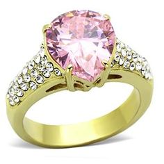 Gold Tone Stainless Steel Pearl Shape Pink Solitaire CZ Ring   Hope Chest Jewelry