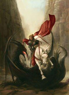 St George slays the dragon.