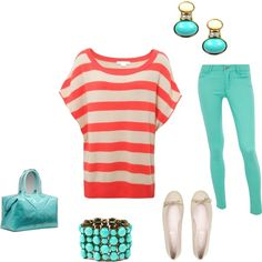 Coral and Teal, created by tracigayle on Polyvore